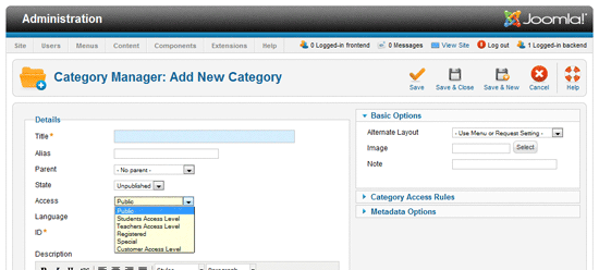 Add new categorie to joomla1.6