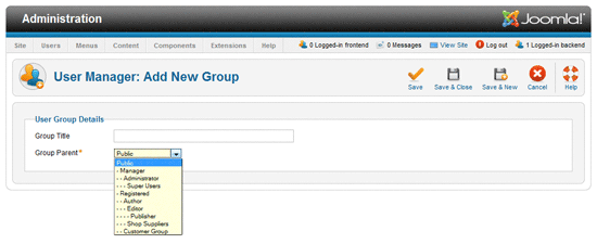 Add User group in joomla1.6