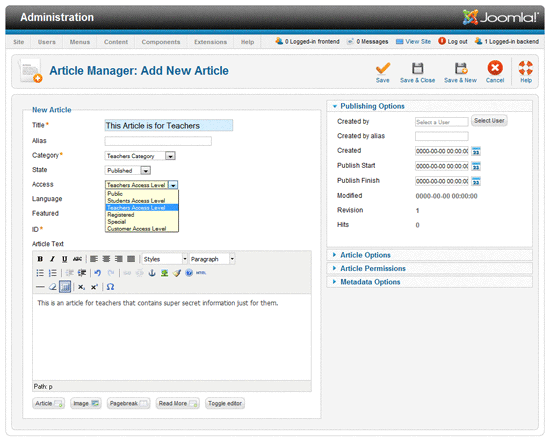 teacher article joomla1.6